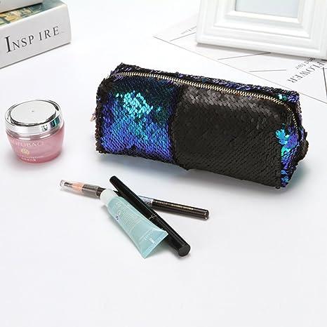 deqi DIY Reversible doble color lentejuelas bolso de mano con purpurina estuche neceser maquillaje bolsa: Amazon.es: Jardín
