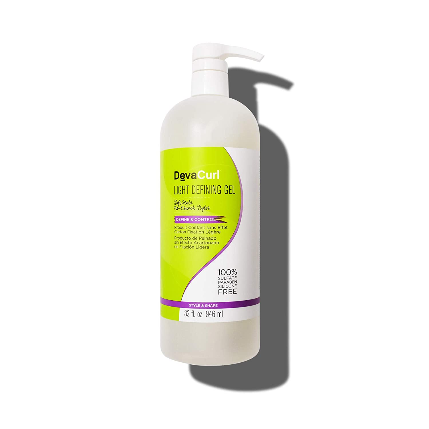 DevaCurl Light Defining Gel Soft Hold Styling Hair Gel Non-Sticky Sulfate Paraben and Silicone Free 32 Ounce 2-Pack