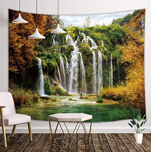 JAWO Waterfall Tapestry Wall Hanging Decoration, Autumn Forest Golden Leaves and Lake Water Nature Scenery Wall Tapestry for Dorm Living Room Bedroom, Wall Blanket Wall Decor Wall Art Home ()