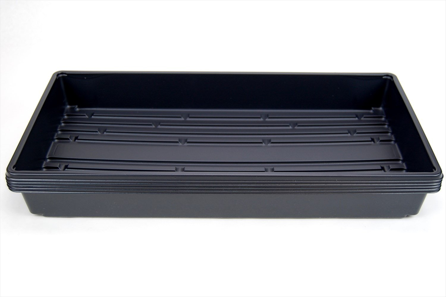 "5 Pack of Durable Black Plastic Growing Trays (Without Drain Holes) 21"" X 11"" X 2"" - Flowers, Seedlings, Plants, Wheatgrass, Microgreens & More"
