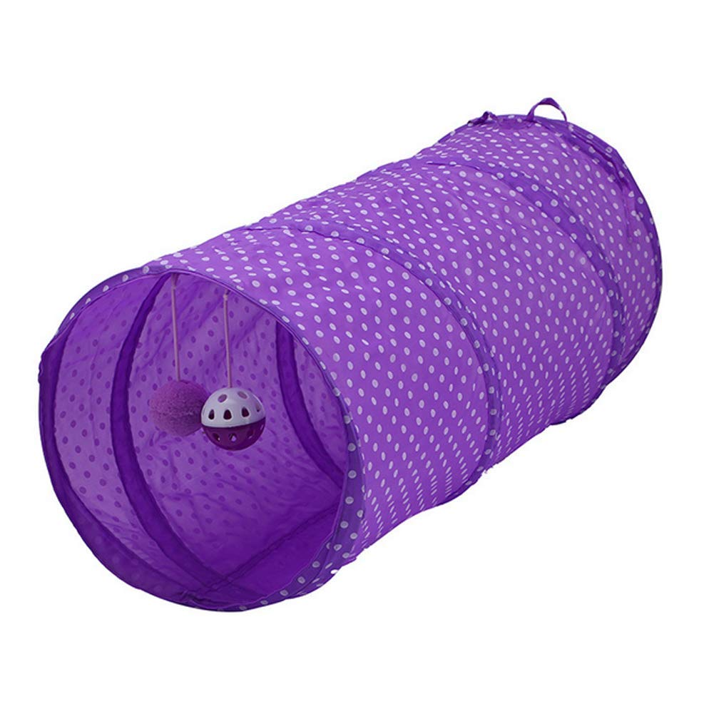Fliyeong Pet Cat Tunnel Collapsible Play Toy Tube Fun for Rabbits,Kittens,and Dogs Purple Pet Supplies Creative and Useful