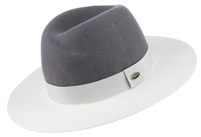 7a0db1f88ac Image Unavailable. Image not available for. Color  GEMVIE Women Vintage Wool  Panama Derby Hat Ladies Stitching Wide Brim Fedora Jazz ...
