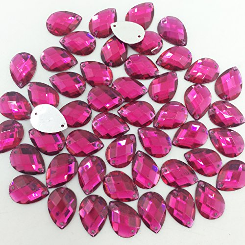 PEPPERLONELY 50PC Hot Pink Sew On Tear Drop Flat Back Faceted Acrylic Crystals Rhinstones, 13x18mm(1/2x11/16 Inch)