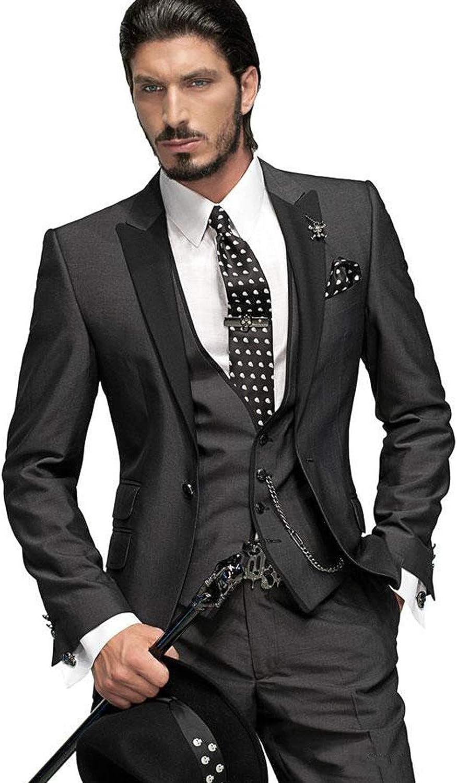 MYS Men de Custom Made Groomsman esmoquin traje Pants chaleco y ...