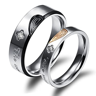c0608fc1ff SAINTHERO Mens Womens Forever Love Promise Band Ring Classic 6MM 316L  Stainless Steel Hearts Couples Rings for His or Hers Mate Finish Comfort It  Size 5-13