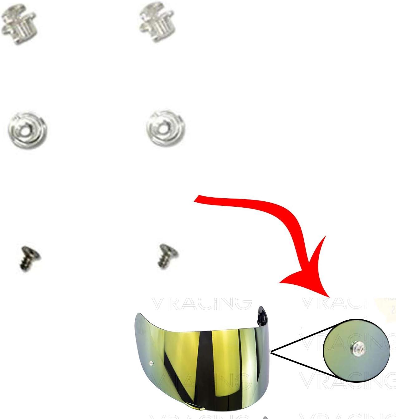 Par de pernos Pinlock para visera de casco AGV K3 Sv K1 K5 K5s S4-Sv Horizon Stealth-Sv Skyline Strada Numo Aftermerket GT2 GT2-1 VRacing
