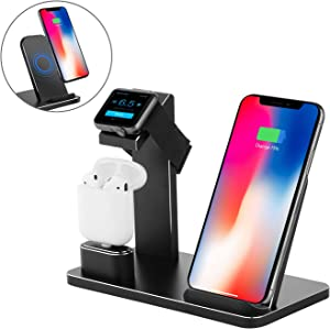 Wireless Charger Stand, XUNMEJ Aluminum Fast Wireless Charging Pad Stand for Phone Xs X Max XR 8 8plus iPad Apple Watch 4 3 2 1 AirPods(Black)