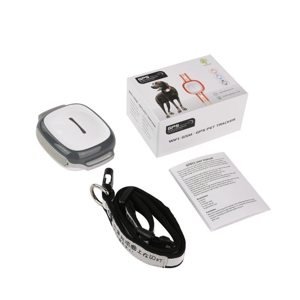 gris Mini GPS imperm/éable /à leau GSM GPRS Tracker Locator pour enfants Pet Cat Dog et voiture avec Google Map /& SOS Panic Button Alarme Tag WiFi Realtime Tracking Collar Locator