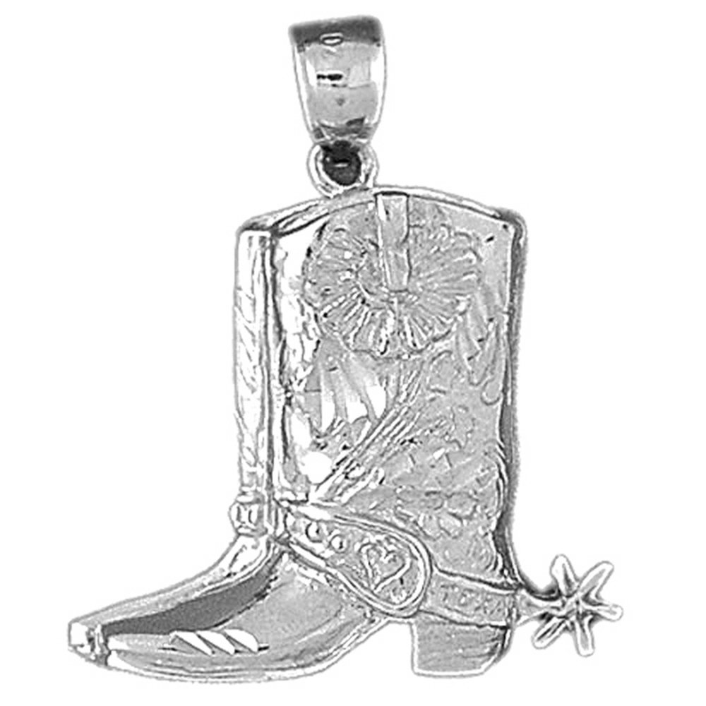 Rhodium-plated 925 Silver 33mm Cowboy Boots Pendant Necklace