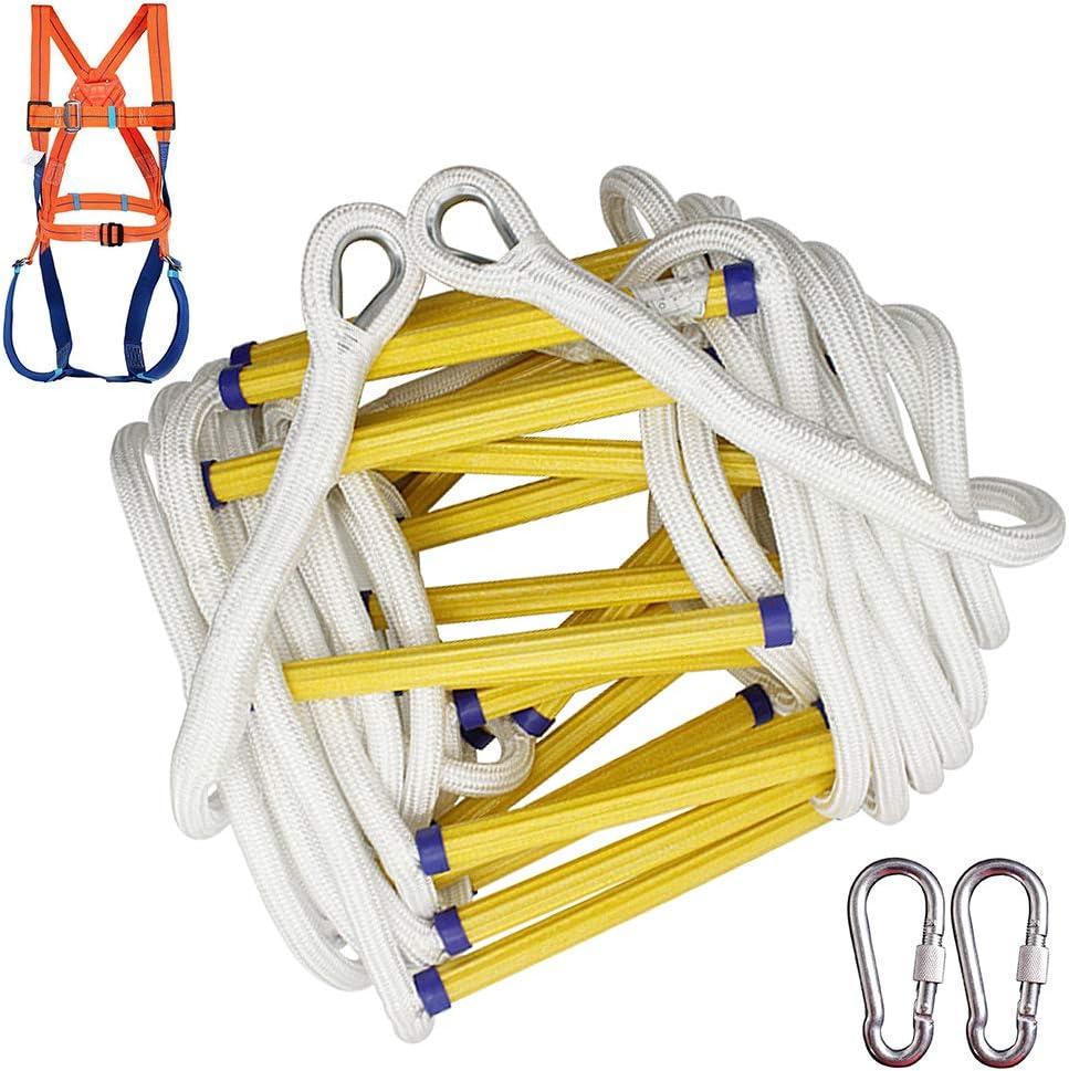 M-TOP Escalera de Emergencia contra Incendios 5-20 M, Escalera Cuerda Escalada de Seguridad Resistente a Las Llamas con Ganchos, Rápida Implementación,Without Body Harness,20m: Amazon.es: Hogar