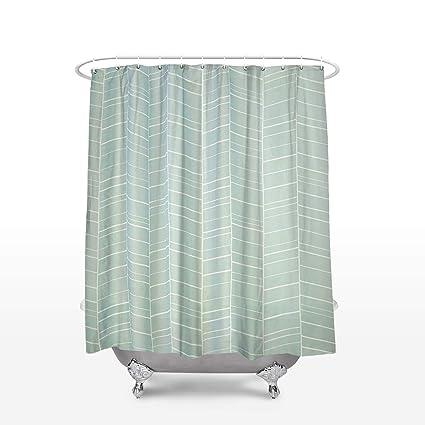 Amazon SUN Shine Mint Shower Curtains Geometric Fabric Bath