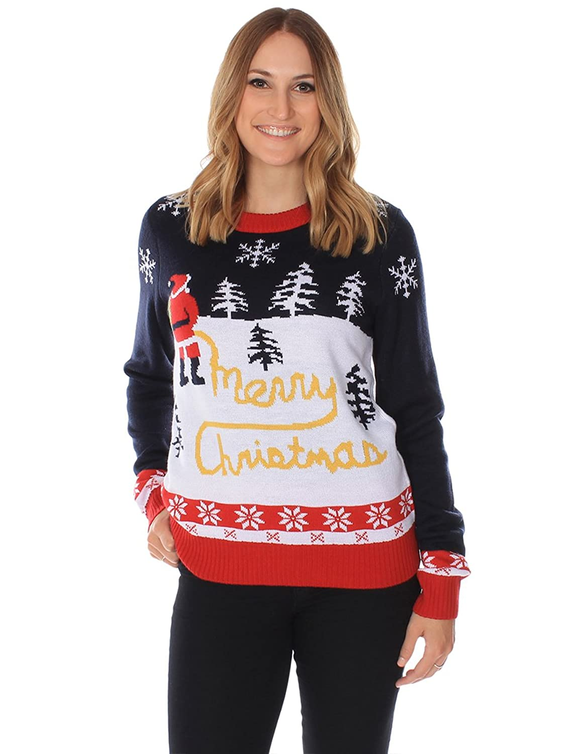 Amazon.com: Women's Ugly Christmas Sweater - Yellow Snow Sweater ...