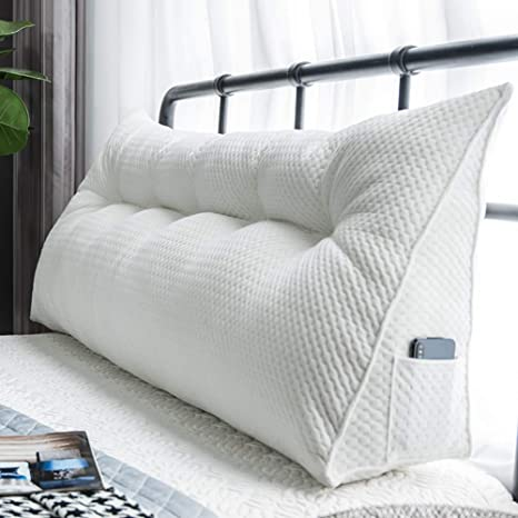 50 HGDR Sofa Bed Pillow Cushion Large Filled Wedge Bed Headboard Cushions Backrest Reading Pillow Office Lumbar Pad With Removable Cover,A-60 20 cm