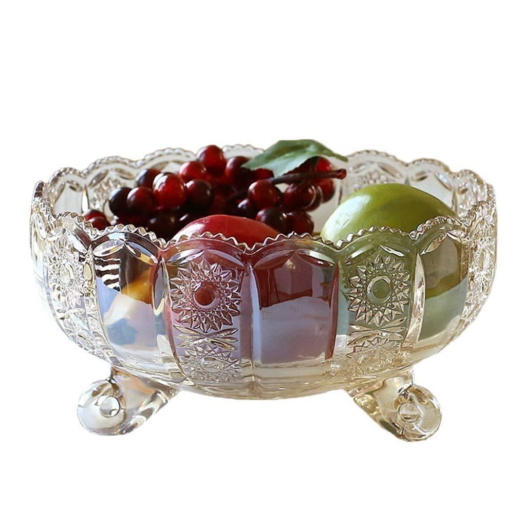 HYZSGPAN Fruit Plate Salad Plate Fruit Bowl European Transparent Glass Fruit Plate Home Decoration Living Room Tabletop Table Decoration Fruit Plate