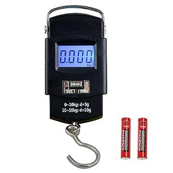 HANWELL 50kg/110lbs Báscula Digital de Equipaje con Gancho, Balanza Ergonómica LCD Báscula con
