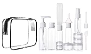 Travel Bottles Tsa approved Toiletry Bag, Leakproof Bottles for Toiletries, Squeeze,Pump,and Spray Bottles, Cream Jars For Liquids, Lotions, Gels, Perfume, Cologne 15 pieces and Clear Cosmetic Bag
