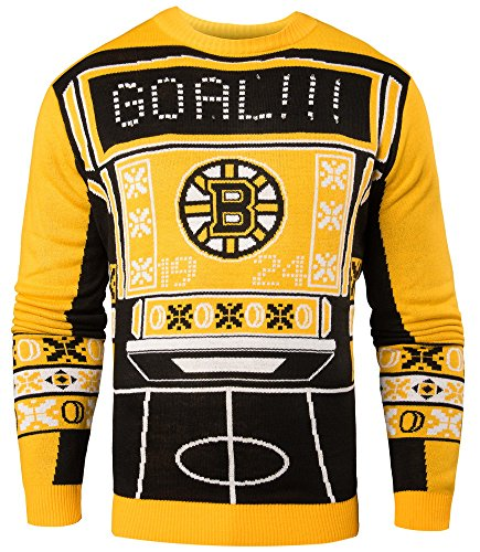 NHL Mens Ugly Light Up Crew Neck Sweater (Boston Bruins, Large)