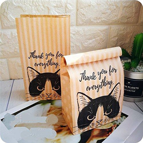 Astra Gourmet Pack of 24 Cat Paper Bread Loaf Bag Treat Bags Kraft Food Packaging Storage Bakery Bag Cookie Popcorn Bags,7 x 7 x 2-inch