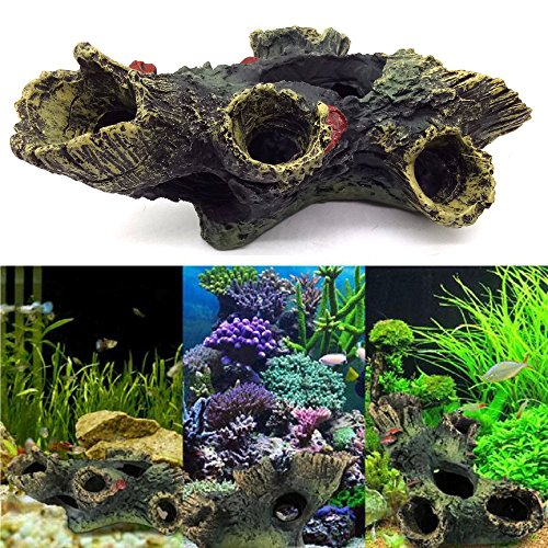 Superdream Hollow Log Stump Aquarium Ornament (Log Resin Ornament Hollow)