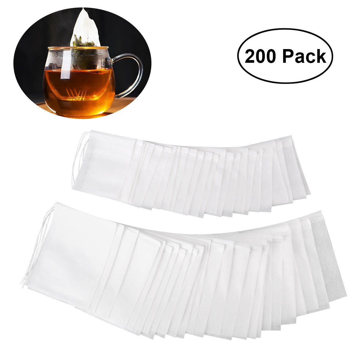 OUNONA 200pcs Drawstring Tea Bag Filter Paper Empty Tea Pouch Bags for Loose Leaf Tea Powder Herbs 2 different sizes(3.5in 2.8in and 2.8in 2.2in)