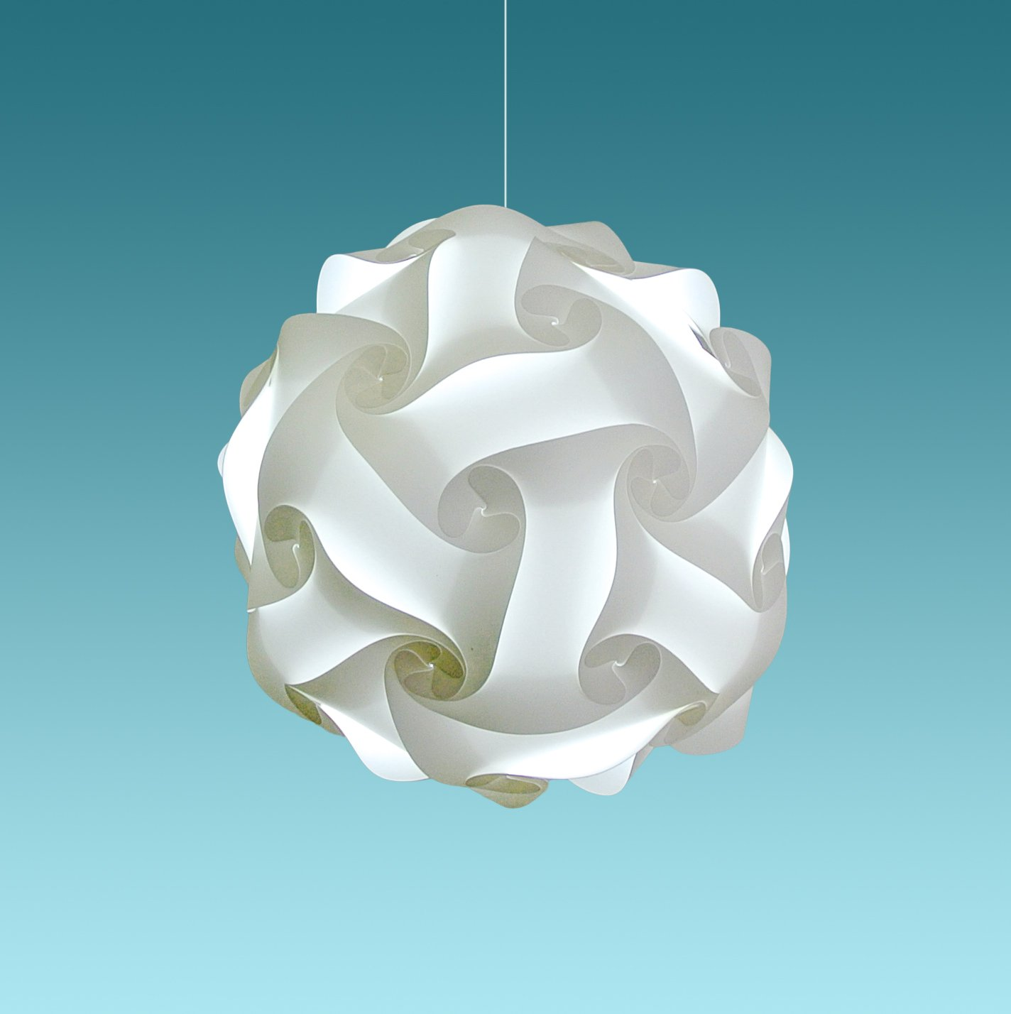 """Akari Lanterns Medium Swirl 16"""" wide , Cool White Glow, Modern & Unique Ceiling Hanging Light Fixtures / Swag Plug in or Hardwire as Pendant Lamp Shade - Spiral bulb included, Easy to install"""