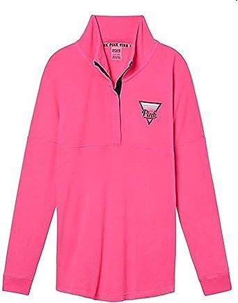 Large VICTORIAS SECRET Pink NEW Cropped Varsity Quarter Snap Sweatshirt Marl Gray