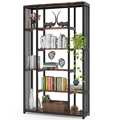 Tribesigns Bookcase Bookshelf with Metal Mesh, Industrial 6-Staggered Etagere Bookcase Book Shelves, Display Shelf Storage Organizer for Home Office Rustic