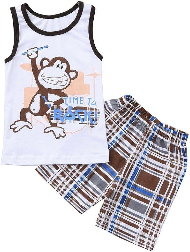 Jimmackey 2PCs Bambino Ragazzi Gilet Scimmia Lettera T-Shirt Camicia Cime Controlli Stampa Pantaloni Completo Abiti Set