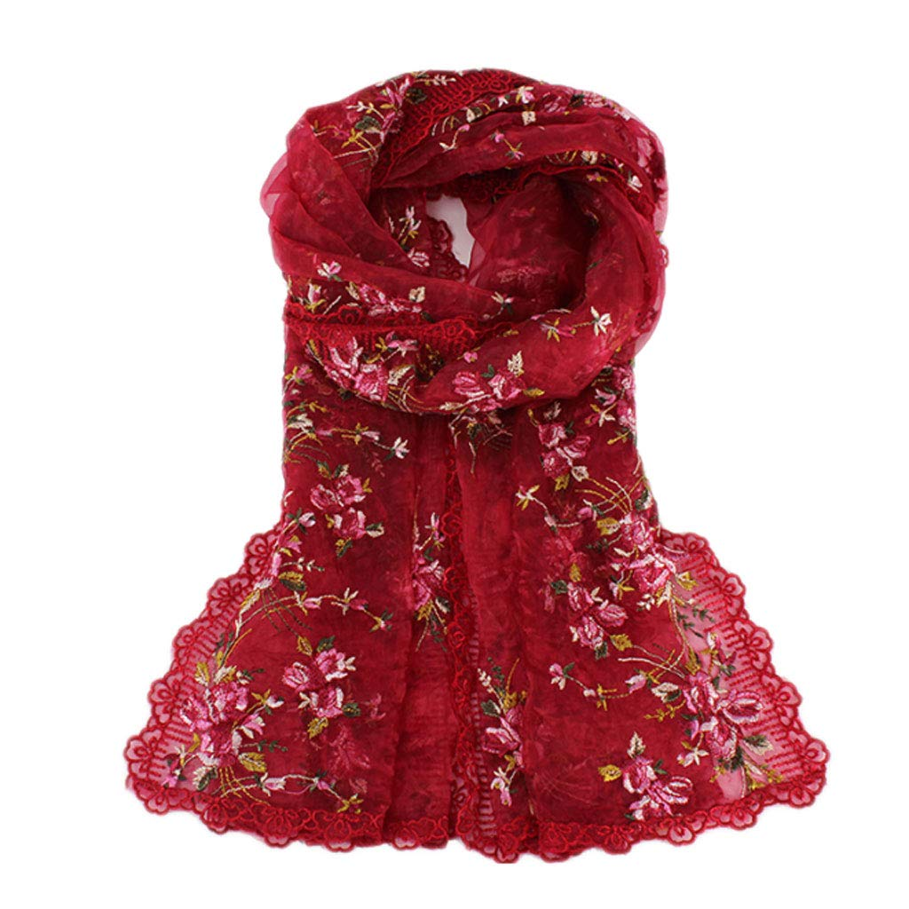 ENYI Hand-Embroidered Scarf Ladies Pink Floral Spring and Autumn Dress Cheongsam Shawl Wrap Scarf Shawl (Color : Red) by ENYI