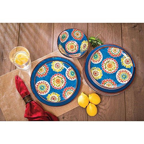 18 Piece Melamine Dinnerware Set Medallion Pattern (Blue)