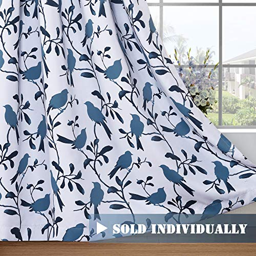 """H.VERSAILTEX Blackout Curtains for Living Room Window Treatments Grommet Curtains for Bedroom Thermal Insulated Birds Printed Drapes (1 Panel, Blue Birds, 52"""" W x 96"""" L)"""