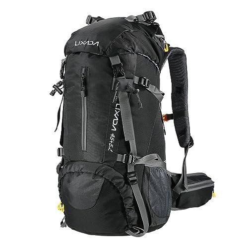 Lixada Mochila de Senderismo 50L 60L con Cubierta Impermeable Mochila de Marcha Trekking Camping Deporte al Aire Libre