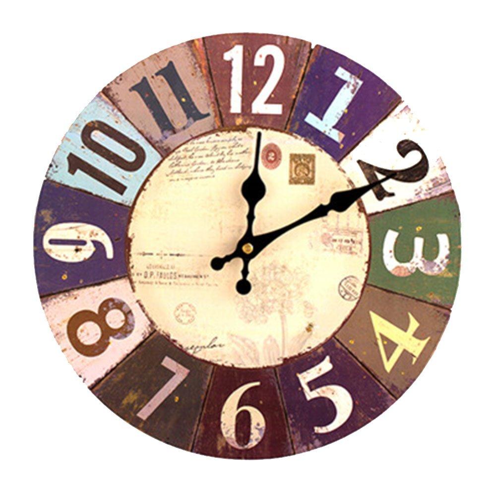 Orologio da Parete in Legno Vintage, 30 cm Orologio Numerico Grande in Legno Retro, Silenzioso No Tick Tack Rumore Orologio da Parete per Cucina, Soggiorno Decorazione vientiane