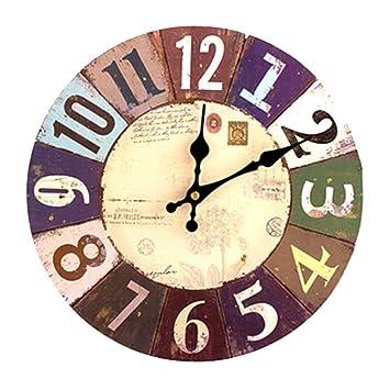 Vintage Holz Wanduhr,30 Cm Retro Holz Große Ziffern Uhr,Geräuschlose Stumm  Nein Tick