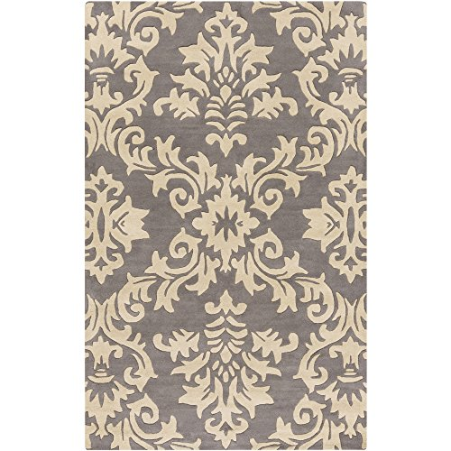 Surya G5130-58 Hand Tufted Traditional Area Rug, 5 by 8-Feet, Slate/Beige