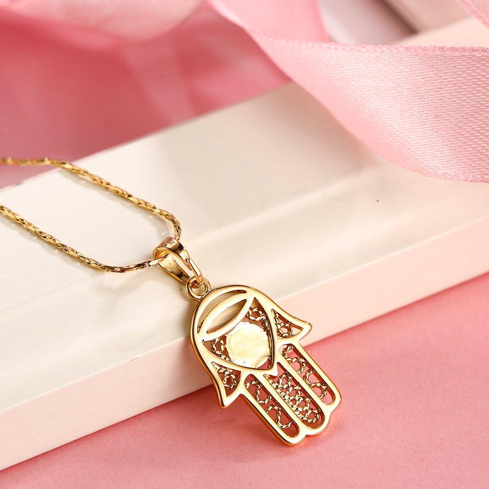 Xuping Ideale per donne e come regalo di Halloween per bambini collana in color oro 18 ct con ciondolo a forma di mano di Fatima