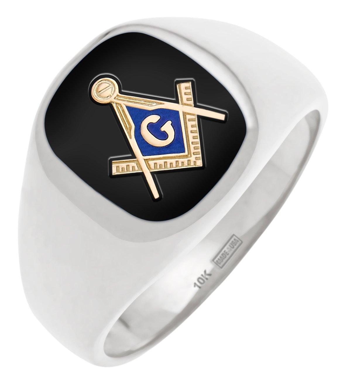 Men's 10k Open Back Gold Masonic Freemason Mason Ring