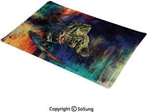 SoSung Feather House Decor Placemat,Grungy Futuristic Design of Native American Foreman Bull with Motley Effects Washable Fabric Place mats Table Mats, 12x18 inch,for Home Kitchen Office,Multi