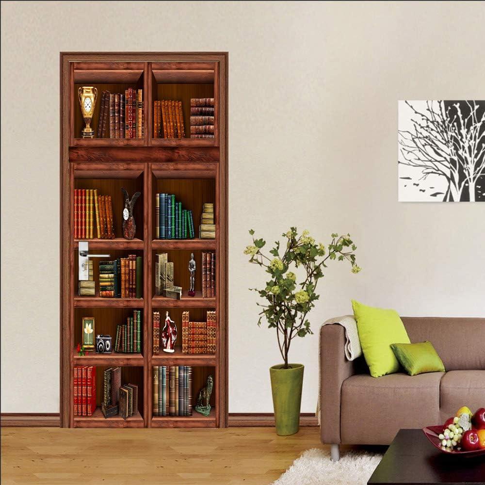 MISSSIXTY 3D Antique Bookshelf Door Sticker, Peel and Stick Vinyl Door Wall Mural Decals for Home Decor 30.3