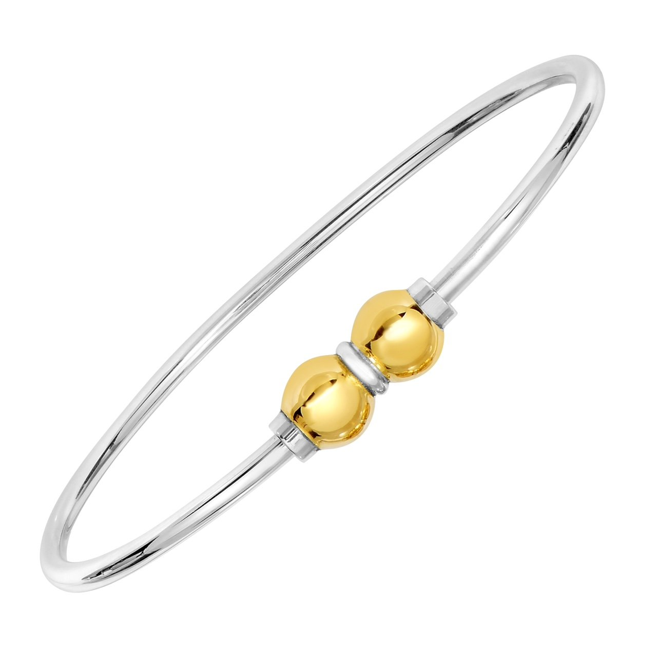 Unique royal jewelry 925 Sterling Silver 14k Gold Double Ball Bracelet Size 7