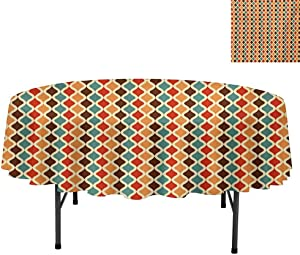 "Spill-Proof Oil-Proof Microfiber Table Cover, Funk Different Vintage Pattern Composition with Geometri, Tablecloths for Dining, Kitchen, Wedding, Round 54"", Multicolor"