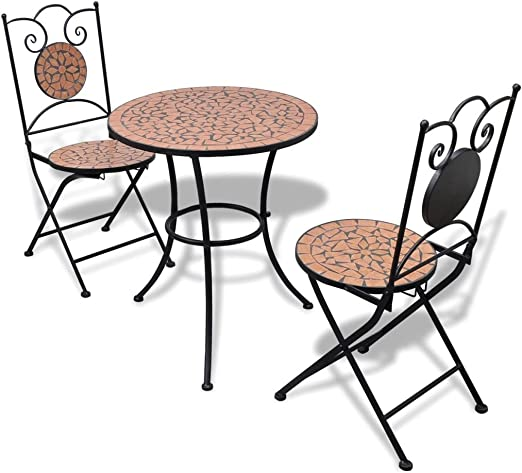 vidaXL Set Mueble Mesa Mosaico 60 cm y 2 sillas jardín Patio, Color Terracota: Amazon.es: Jardín