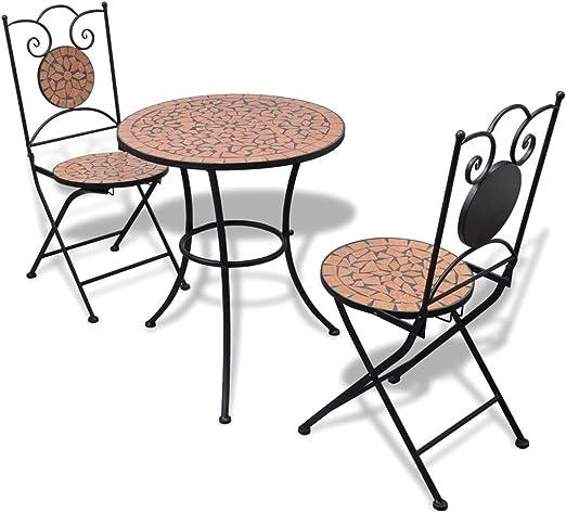 vidaXL Set Mueble Mesa Mosaico 60 cm y 2 sillas jardín Patio, Color Terracota: Amazon.es: Jardín