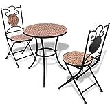 vidaXL Tavolo da giardino con mosaico 60 cm con 2 sedie colore terracotta