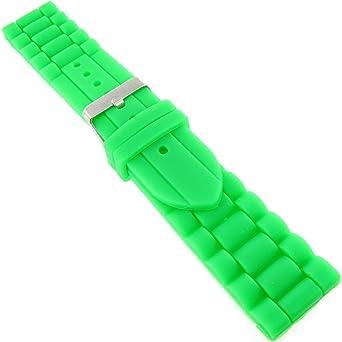 20 mm tendance Vert pomme en caoutchouc en silicone étanche Bracelet de  montre 035e729648f