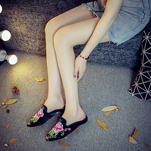 Schwarz Stickerei Casual On Backless Hausschuhe Haus Müßiggänger Spitze Zehe Schuhe YIBLBOX Mules Slip frauen Floral Satin Frauen Chinesische Für qnUIwv