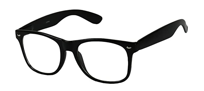 91eb5d727a Image Unavailable. Image not available for. Color  Basik Eyewear - Clear  Lens Nerd Geek 80s Style Wayfarer Retro Frame Rx Eye Glasses
