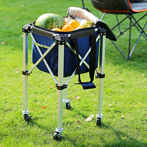 Suntime Collapsible Cooler with Removable Stand, Dark Blue for Travel, Picnics, Hiking, Camping and More by OUTDOOR LIVING SUNTIME