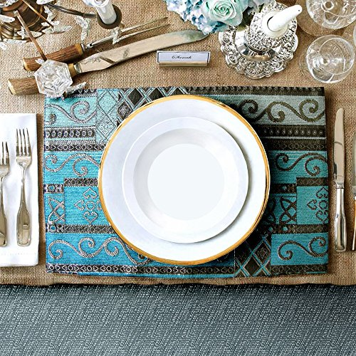 Artbisons Sets of 6 Place Mats Blue Abstract 16×12 Thickly Soft Luxury Handmade Table Mats