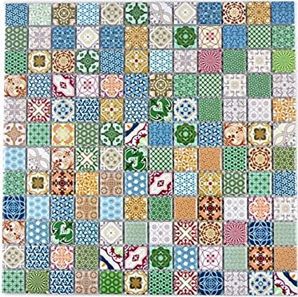 Retro vintage pop-up mosaic tiles, ceramic, multi-coloured for walls,  bathrooms, toilets, showers, kitchens, mirrors, counter covering, bath  cladding,